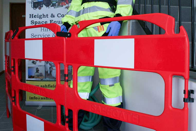 Safegate Plastic Barrier used to prevent a trip hazard
