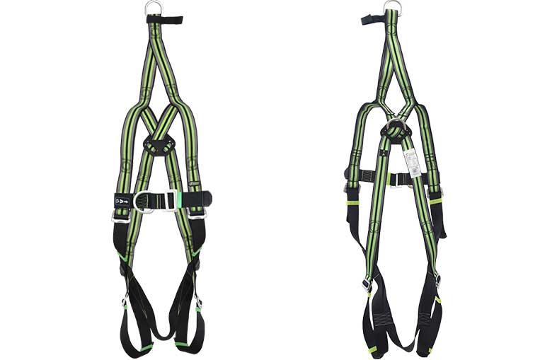 FA10 106 00 Twin Point Harness with rescue strap front and Back views