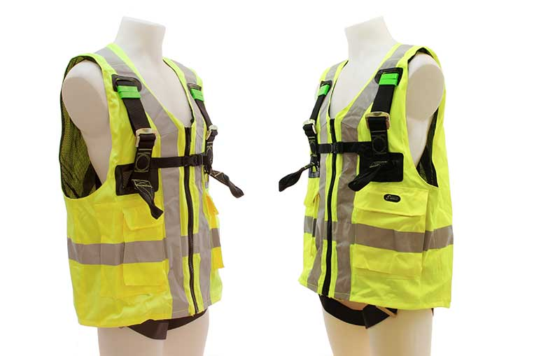 FA 10 302 00 Twin Point Harness with EN471 Yellow Jacket side Views